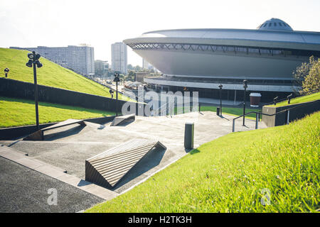 KATOWICE, POLAND - AUGUST 18, 2016: The new public area situated on the grass-covered roof of the Congress Center - Stock Photo