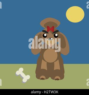Poodle dog pet vector dog vector. Flat dog domestic animal vector illustration. Dog breed isolated from background - Stock Photo
