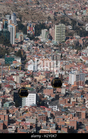 View over Zona Sur, La Paz, from Mi Teleferico, the aerial cable-car system operating since 2014 - Stock Photo