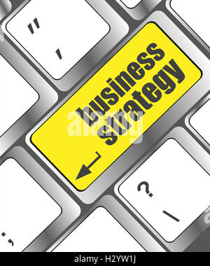 business strategy - business concepts on computer keyboard, business concept - Stock Photo