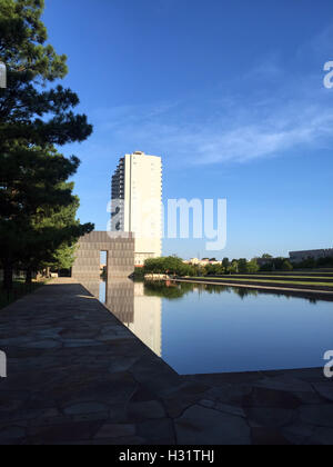 Reflecting Pond in front of the Oklahoma City Bombing Memorial - Stock Photo