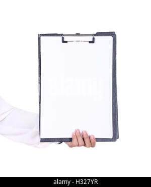 business woman hand holding blank clipboard - Stock Photo