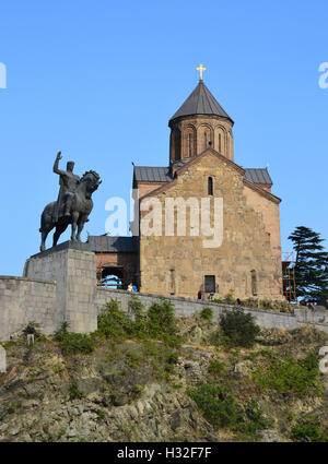 Metekhi Church above the Kura river in Tbilisi, Georgia - Stock Photo
