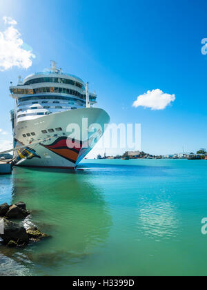 Cruise ship AIDA DIVA at the Port of Antigua, West Indies, Antigua, Antigua and Barbuda - Stock Photo