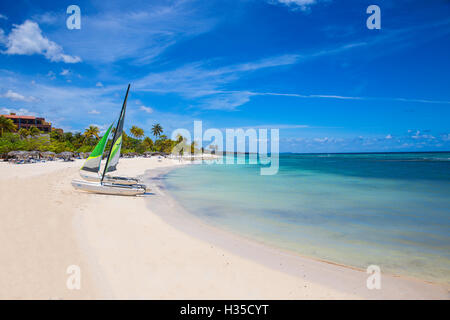 Catamarans on Playa Guardalvaca, Holguin Province, Cuba, West Indies, Caribbean, Central America - Stock Photo