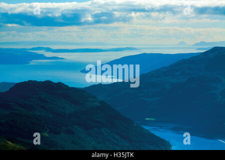 Loch Goil, Firth of Clyde, Cumbrae and Ailsa Craig from Ben Donich, Arrochar Alps, Loch Lomond and the Trossachs - Stock Photo