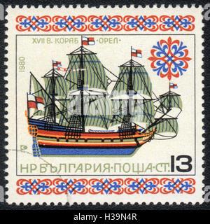 A postage stamp printed in Bulgaria shows Retro ship 'Eagle', circa 1980 - Stock Photo