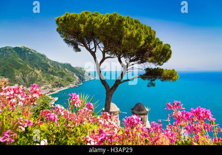 Scenic postcard view of famous Amalfi Coast with Gulf of Salerno from Villa Rufolo gardens in Ravello, Campania, - Stock Photo