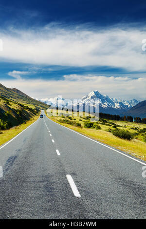 Road to Mount Cook, New Zealand - Stock Photo