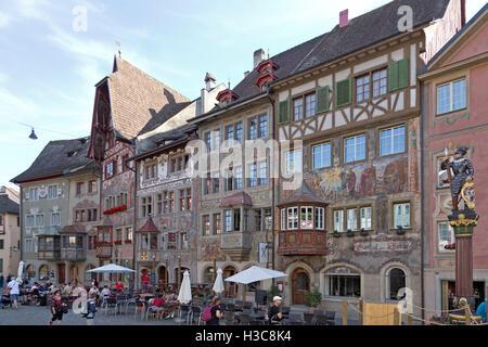 town hall square, old town, Stein am Rhein, Canton Schaffhausen, Switzerland - Stock Photo
