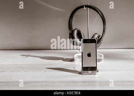 The new iPhone 7 with headsets are on display in the Apple store on Manhattan's Upper West Side. - Stock Photo