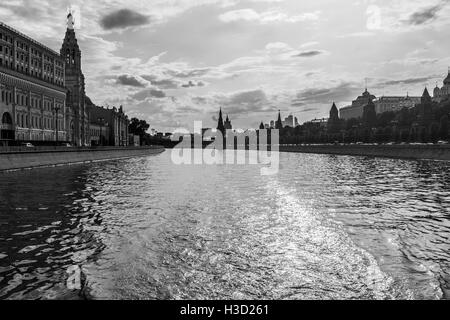 View of Moscow from the river in black and white - Stock Photo