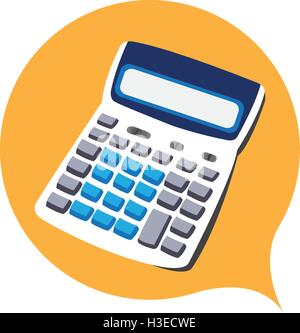 Isolated calculator on a yellow sticker, Vector illustration - Stock Photo