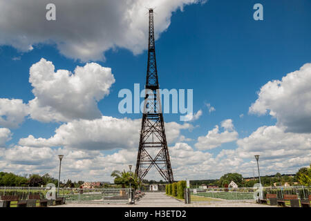 Historic radiostation tower in Gliwice, Poland (the highest wooden building on the world - 111m). The place of Nazi - Stock Photo