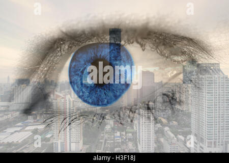 Double exposure image of human eye with business center district Bangkok city. Business future concept. - Stock Photo