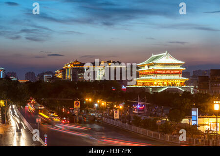 Xian drum tower (guluo) in Xian ancient city of China sunset - Stock Photo