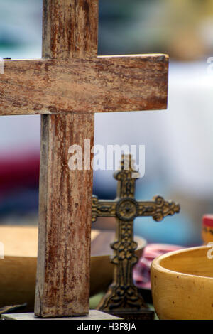 Close-Up Antique Wooden Cross Detail Vintage Metal Cross & Wooden Bowl at Hell's Kitchen Flea Market NYC  Christian - Stock Photo