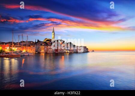 Rovinj small town at sunset in Croatia - Stock Photo