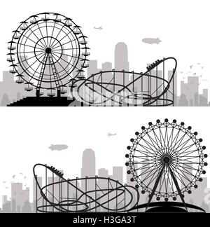 vector background of a city and amusement park with ferris wheel and roller-coaster - Stock Photo