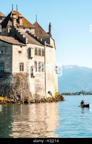 Chilon castle in Switzerland - Stock Photo