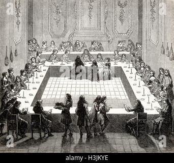 The lottery  in May, 1681, Louis XIV, 1638-1715, Louis the Great, King of France - Stock Photo