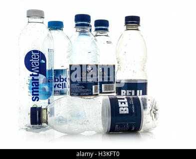 Plastic Bottles Ready for Recycling on a white background - Stock Photo