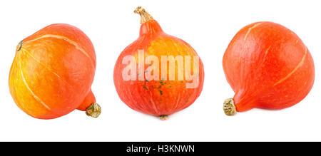 Red Kuri Squash Set Collection Hokkaido Pumpkin Isolated on White - Stock Photo