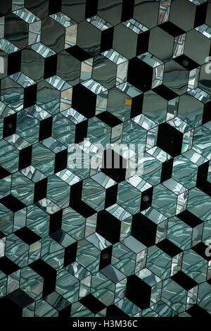 Modern art ceiling glass color abstract pattern of the Harpa Concert Hall in Reykjavik, Iceland, Europe, abstract - Stock Photo