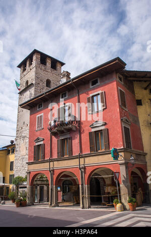 Colorful and ancient house,in the historic centre of the Pisogne town.The city is located on Lake Iseo near Brescia,Italy. - Stock Photo