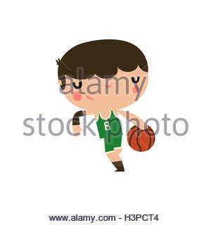 cute basketball character. team sports boy. - Stock Photo