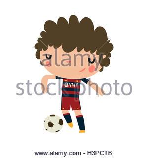 football player boy. soccer boy hitting ball . - Stock Photo