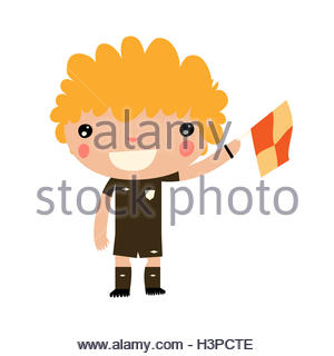 soccer side referee boy. cute soccer characters. - Stock Photo