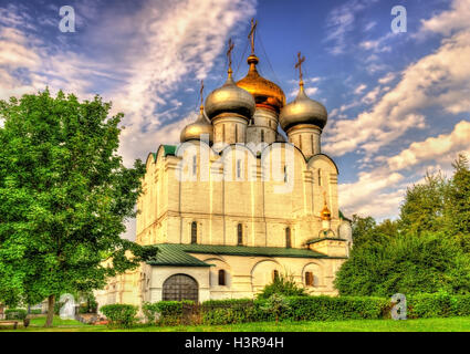 Smolensk Cathedral of Novodevichy Convent, a UNESCO site in Moscow - Stock Photo
