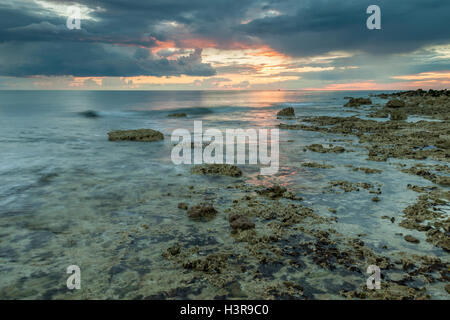 Sunset at Hope Gap on the coast of East Sussex England. - Stock Photo