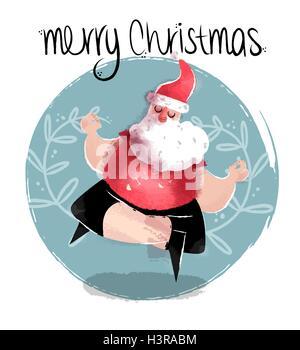 Merry Christmas funny hand drawn illustration of cute santa claus practicing lotus yoga pose. EPS10 vector. - Stock Photo