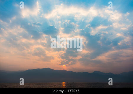Sunrise at Inle Lake, Shan State, Myanmar - Stock Photo
