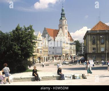 Poland, Masuria, Allenstein, town view, city hall, marketplace, passer-by Europe, Rzeczpospolita Polska, north-east - Stock Photo