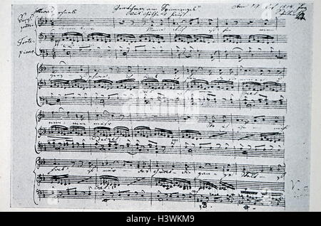 Gretchen am Spinnrade by Franz Schubert (1797-1828) an Austrian composer. Dated 19th Century - Stock Photo