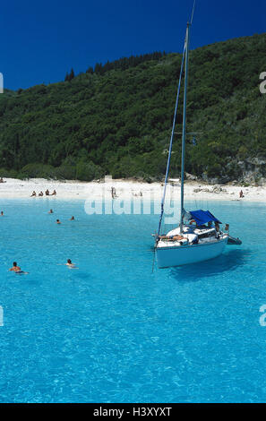 Greece, island Antipaxos, blue lagoon, beach, sailboats, outside, summer, Ionian islands, Corfu, sea, Paxos, sandy - Stock Photo