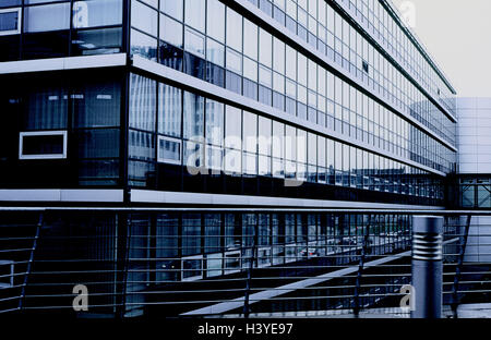 Office building, glass front, fence, office building, office buildings, commercial building, house facades, house - Stock Photo