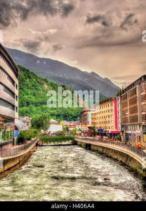 The Gran Valira flowing in Andorra la Vella - Stock Photo