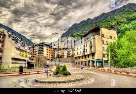 Buildings in Andorra la Vella, the capital of Andorra - Stock Photo