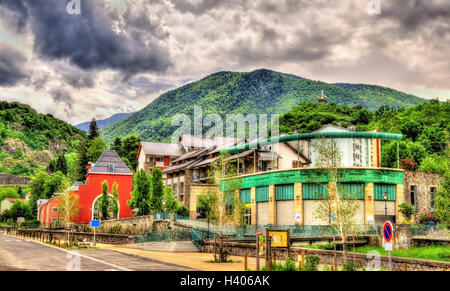 View of Ax-les-Thermes town - France, Midi-Pyrenees - Stock Photo