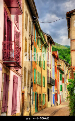 Buildings in Ax-les-Thermes, a town in Pyrenees - France - Stock Photo
