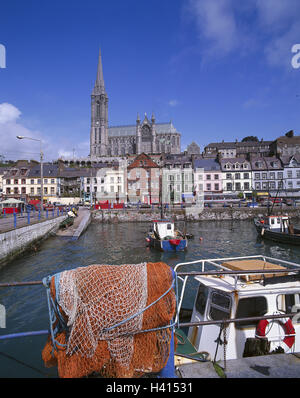Ireland, county Cork, Great Iceland, Cobh, town view, harbour, boots, Saint Colman's cathedral, Europe, Nordwesteuropa, - Stock Photo