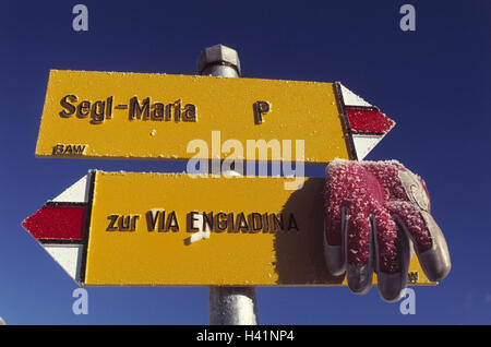 Switzerland, Graubuenden, Oberengadin, signpost, glove, winter, the Engadine, mountain region, travelling area, - Stock Photo