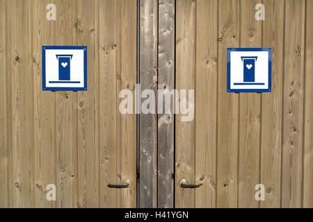 Toilets, publicly, detail, wooden doors, signs, toilet, WC, earth closet, doors, closed, to, signs, toilet small - Stock Photo