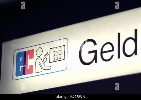 Sign, automatic teller,    Hint, EC, bank, money, finances, EC-Automat, bank vending machine, vending machine, cash, - Stock Photo