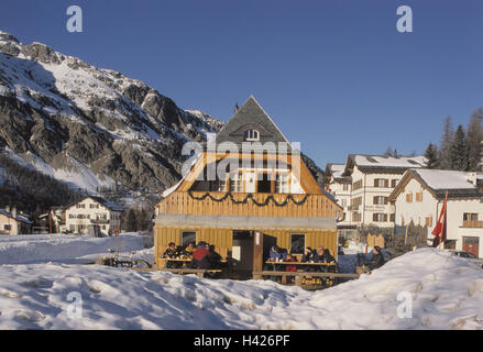 Switzerland, Graubuenden, Oberengadin, Sils Maria, local view, winter, Europe, the Engadine, mountain landscape, - Stock Photo