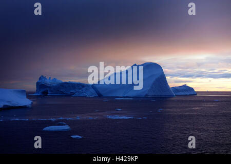 Greenland, disco bay, Ilulissat, fjord, icebergs, evening light, Westgrönland, Ilulissat-ice cream fjord, ice cream - Stock Photo
